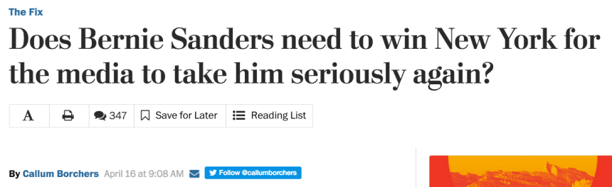 Washington Post Bernie headline