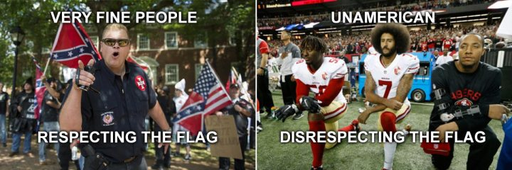 Kaepernick vs very fine people respect-the-flag