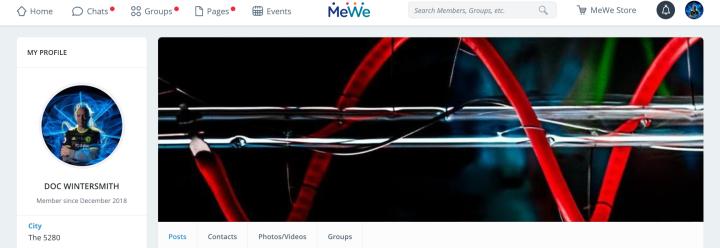MeWe screen shot Sam page